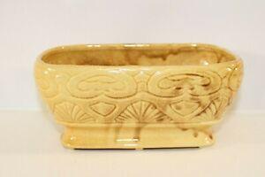 Vintage-Ceramic-Planter-Yellow-Pottery-Mid-Century-Modern-MCM-Retro-Brown-Drip