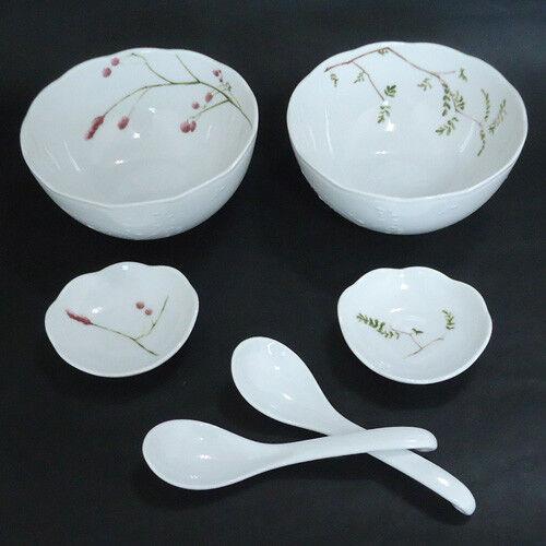 NARUMI Porcelain Café DONBURI Set Bowl Plate Spoon Renge Kawaii