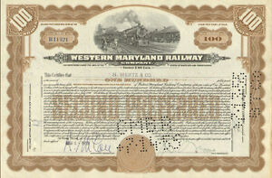 Western-Maryland-Railway-gt-railroad-stock-certificate-issued-for-100-shares