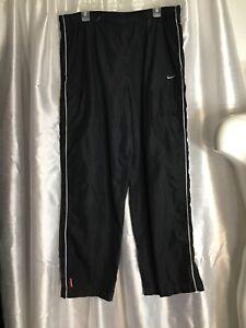 Vtg-NIKE-Swoosh-Mens-L-38x32-Wide-Leg-Nylon-Track-Jogging-Workout-2-Pckt-Pants