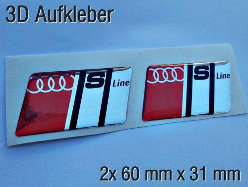 2x Audi S-line 3D Aufkleber-Set für Auto S line schwarze Buchstab Handy..