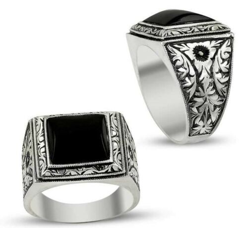 Turkish 925 Sterling Silver jewelry black ONYX  mens man ring ALL SİZE us 070