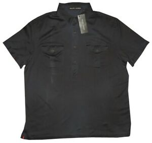 395-NEW-RALPH-LAUREN-BLACK-LABEL-INDIGO-BLUE-MILITARY-4-BUTTON-POLO-SHIRT-XL