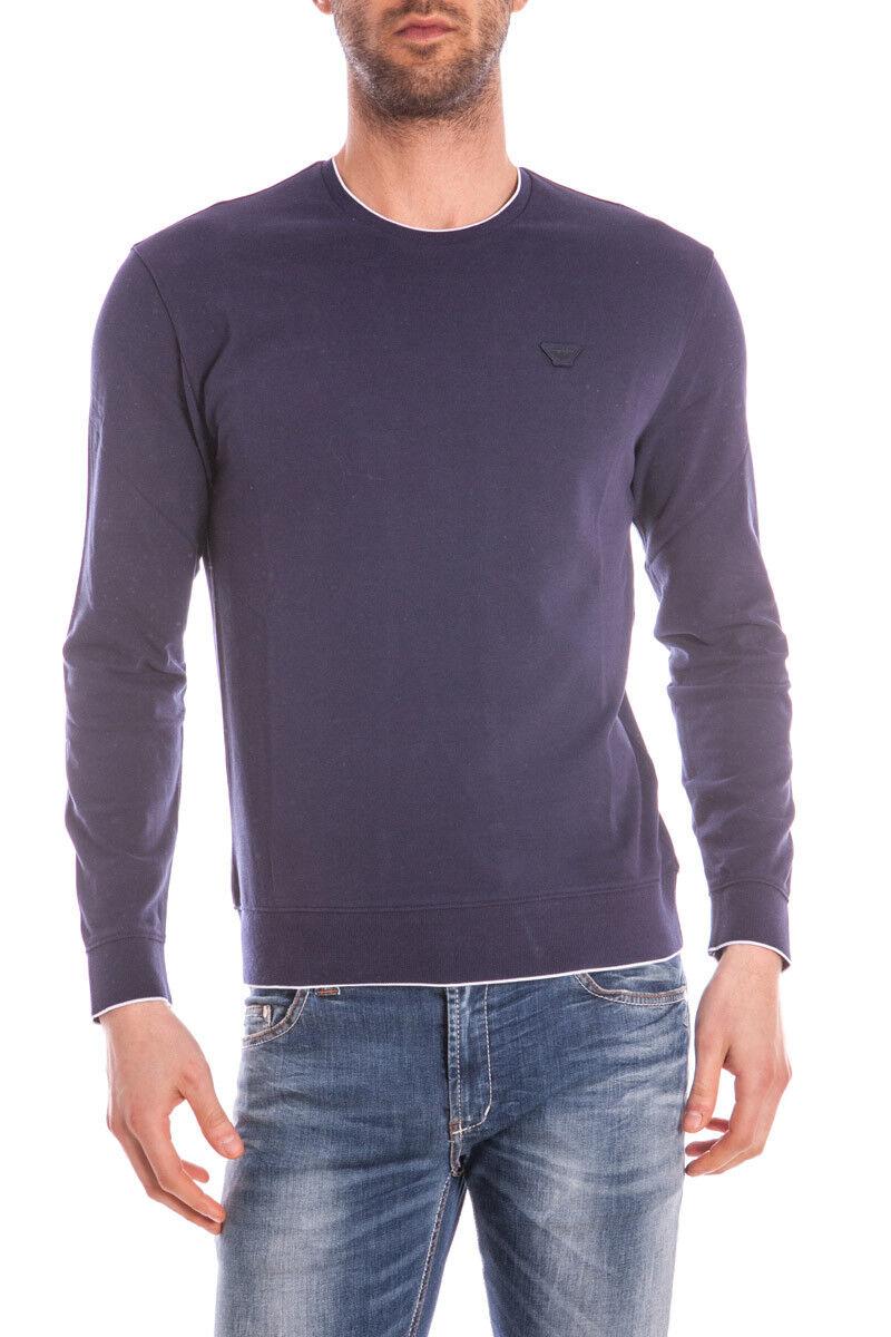 Maglia Maglietta Armani Jeans Sweater Pullover Cotone  Herren Blu C6M16GN Z5