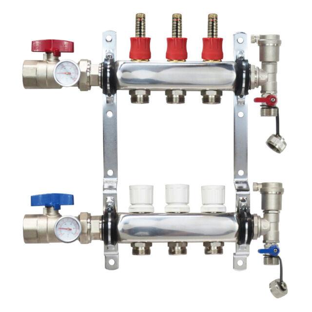 6 Circuit Brass Radiant Floor Heat Manifold for PEX Pipe HLV6