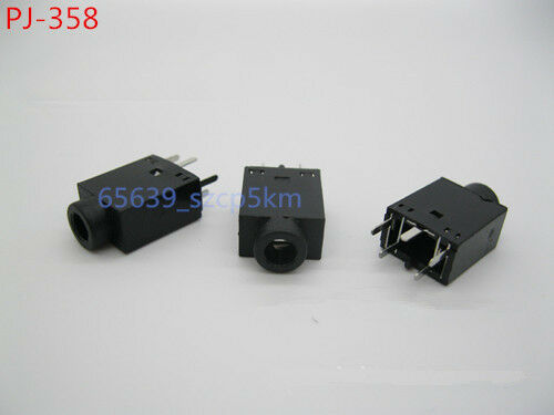 20Pcs 3.5mm Female Audio Connector 5 Pin DIP Stereo Headphone Jack PJ-358 Black