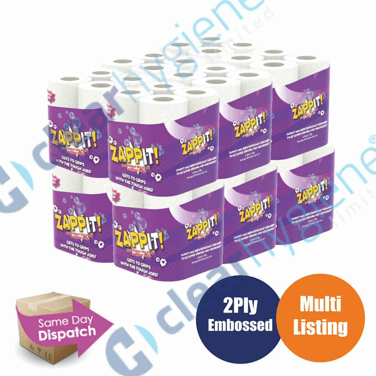 48 Rolls Zappit Kitchen Roll Micro Absorbent Technology