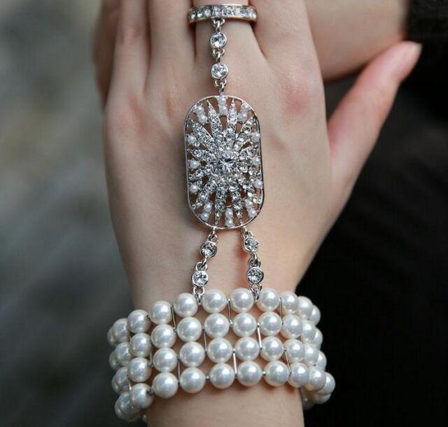 The Great Gatsby 8mm Luxury Pearl Crystal Bracelet Wedding Bride Rings