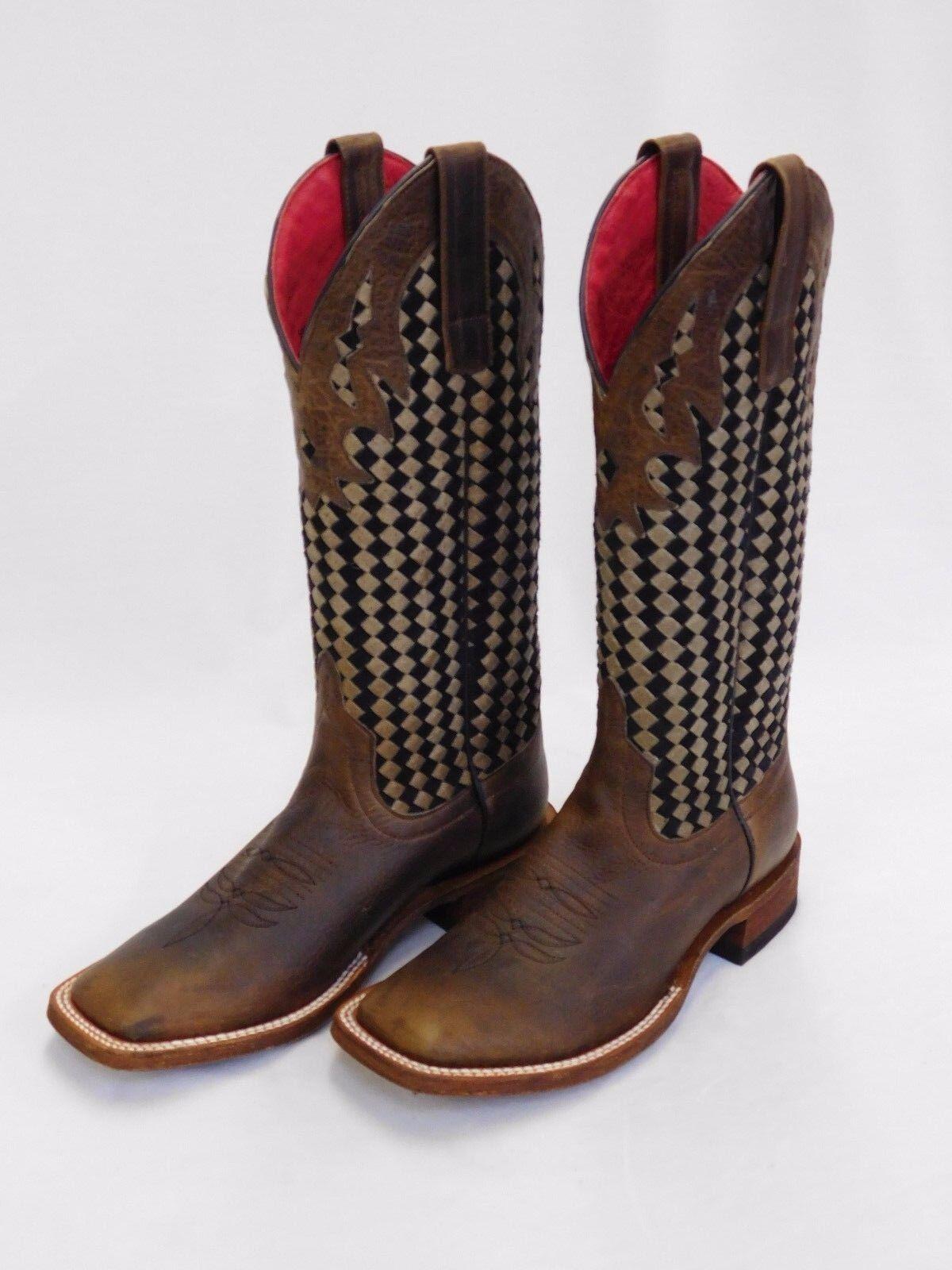 alta qualità generale Donna    Macie Bean Marrone Square Toe stivali w nero and Marrone Woven Tops M9075  risparmia fino al 50%