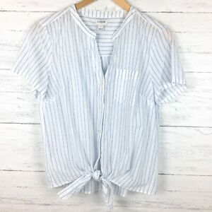 J-Crew-Women-039-s-White-and-Blue-Stripe-Shirt-Tie-Front-Button-Short-Sleeve-Small