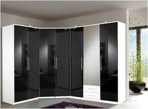 Details about Berlin 7 Door Corner Wardrobe Bedroom Set High Gloss Black  and White Furniture