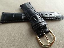 New Glossy Black Bamboo Crocodile Grain 18mm SHORT Genuine Leather Watch Band