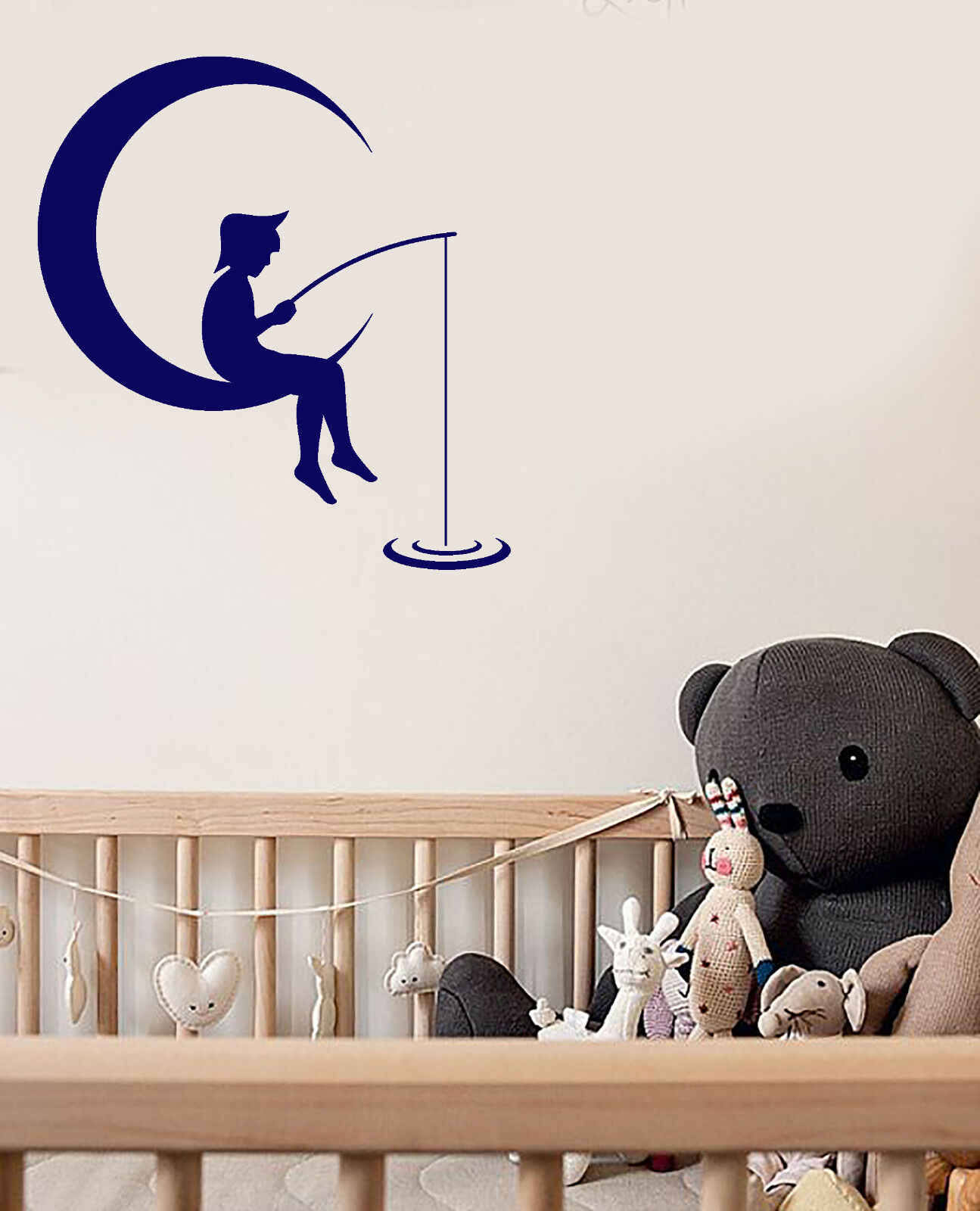 Vinyl Wall Decal Cartoon Boy On The Moon Crescent Fishes Stickers (3011ig)