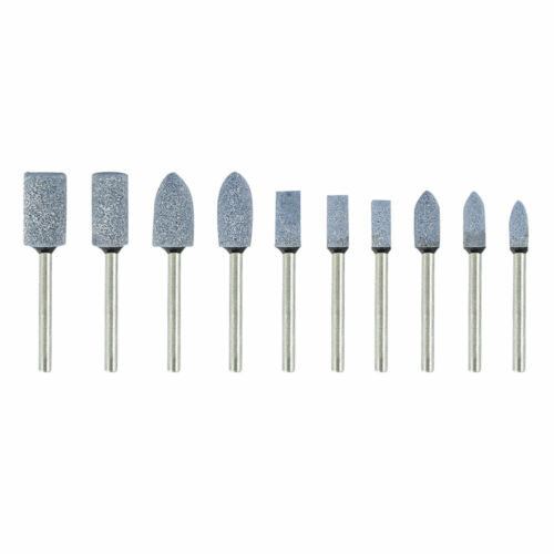 10pcs Ceramic Stone Polishing Grinding Dremel Rotary Die Grinder Drill Bit Tool