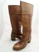 FRYE black label true vintage brown saddle leather cuffed campus tall boots 7B