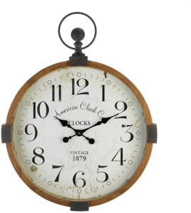 Large-Wall-Clock-Antique-Look-Vintage-Industrial-Style-Hanging-Home-Decor-Round
