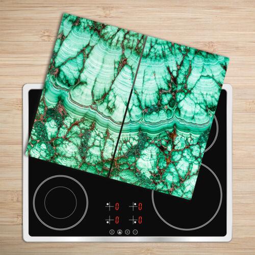 Glas-Herdabdeckplatte Ceranfeldabdeckung Zweiteilig 2x30x52 Malachit-Textur