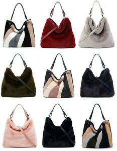 Women Ladies Girl Fluffy Faux Fur Tote Shoulder Large Slouch Stripe Bag Grab Bag