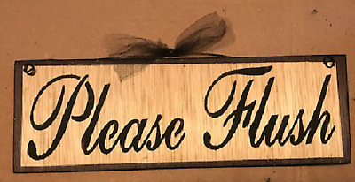 Please Flush Sign Farmhouse Rustic Bathroom Country Bath Wall Decor Wood Plaque Ebay