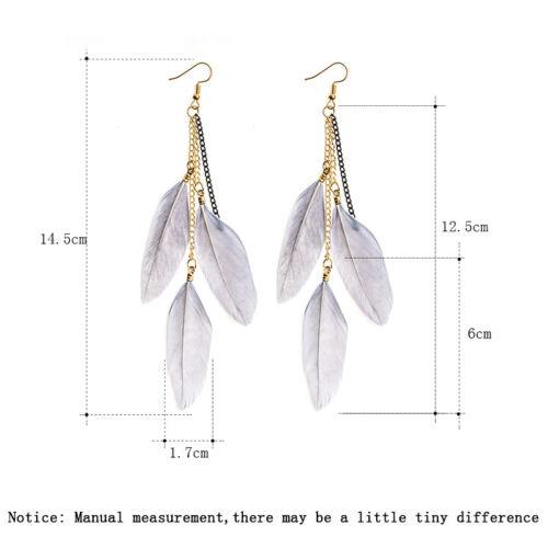 Élégant Femme Plume Tassel Multi-Couleur Boucles d/'oreilles Goutte Dangle Crochet Bijoux Cadeau