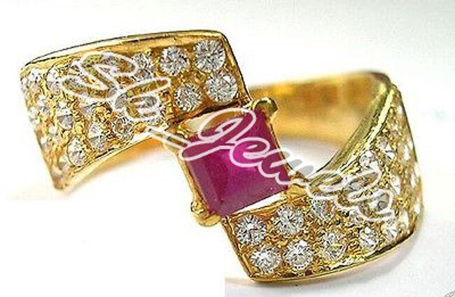 0.89ct Diamond  Ruby 14k Yellow gold WEDDING ANNIVERSARY Ring