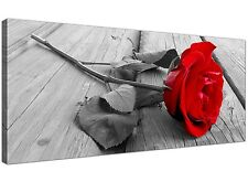 Red Cheap Canvas Picture of Red Rose Flowers  - 120cm x 50cm - 1005