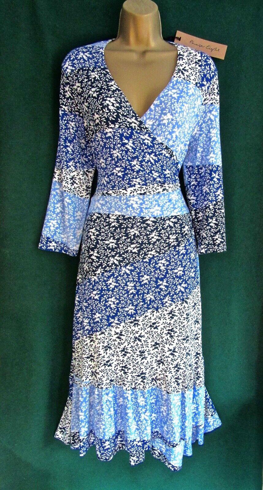 New PHASE EIGHT 8 UK 14 16 PETA bluee White Ditsy Floral Jersey Midi WRAP DRESS