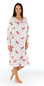 Ladies Long Sleeve Cotton Jersey Floral Print Nightdress 2 colours sizes 10-24