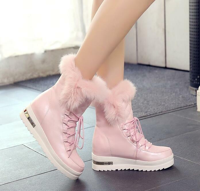 New Womens Lace Up Platform Wedge Hidden Heel shoes Warm Furry Snow Ankle Boots