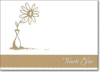 Gold Flower & Pot - Box Of 25 Thank You Note Cards By Ps Greetings