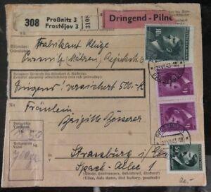 1943-Prossnitz-Bohemian-Moravia-Germany-Parcel-Receipt-Cover-To-Strasbourg