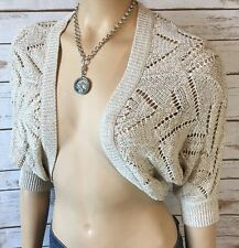 White House Black Market Shrug Bolero Crop Cardigan Sweater S Small Gold Sparkle