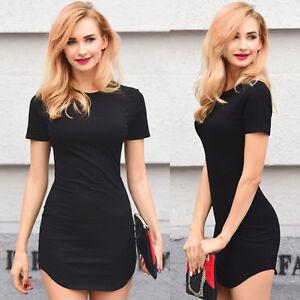 Evening-Party-Cocktail-Short-Dress-Casual-Short-Sleeve-Women-Mini-Bodycon-Dress