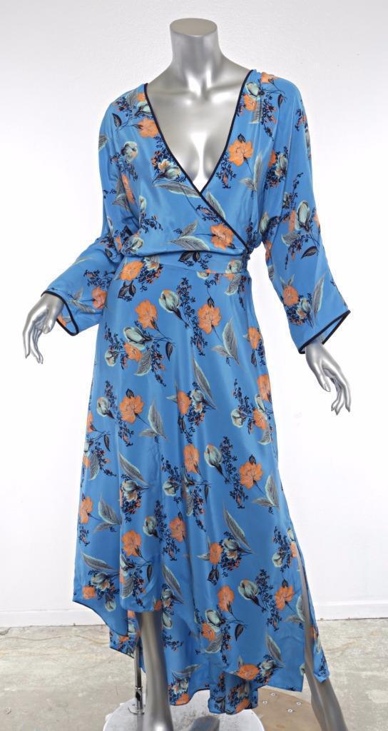 Diane von Furstenberg DaMänner Blau Seide Geblümt Asymmetrischer Saum Langes Kleid