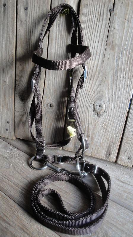 Miniature Horse Mini Donkey  BROWN Nylon Bridle & Bit