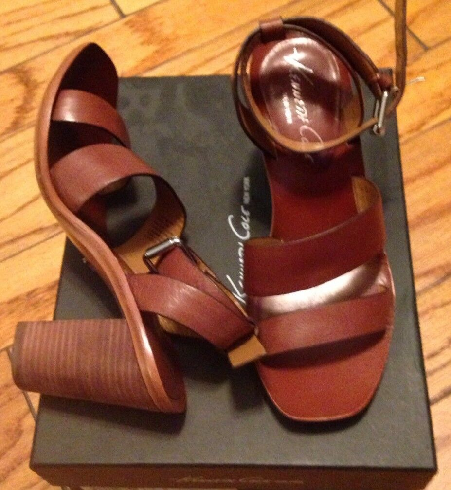 NEW Kenneth Cole New York 7 7.5 8 Low Heels Cognac Sandals shoes All Leather FAB