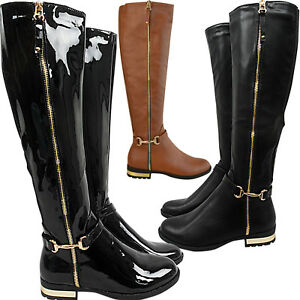 Ladies-Womens-Low-Flat-Heel-Knee-High-Stretch-Riding-Boots-Shoes-Size-Zip-Up