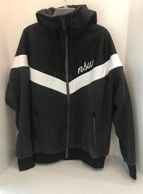 Nike Men's Windrunner Full Zip Sherpa Jacket BlackWhiteGrey SZ L 930316 010
