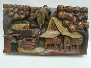Wall-Hand-Wood-Vintage-Carved-Hanging-Plaque-Decor-Carving-Art-Folk-Plate-Beauty
