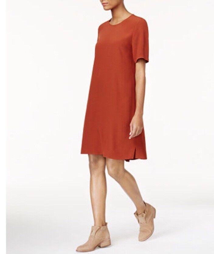 New Eileen Fisher Short Sleeve Dress Petite Paprika Größe PS MSRP  258