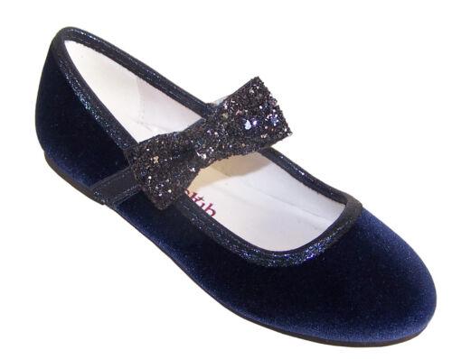 Girls Kids Blue Velvet Sparkly Ballerina Party Shoes Flower Girl Glitter Bag