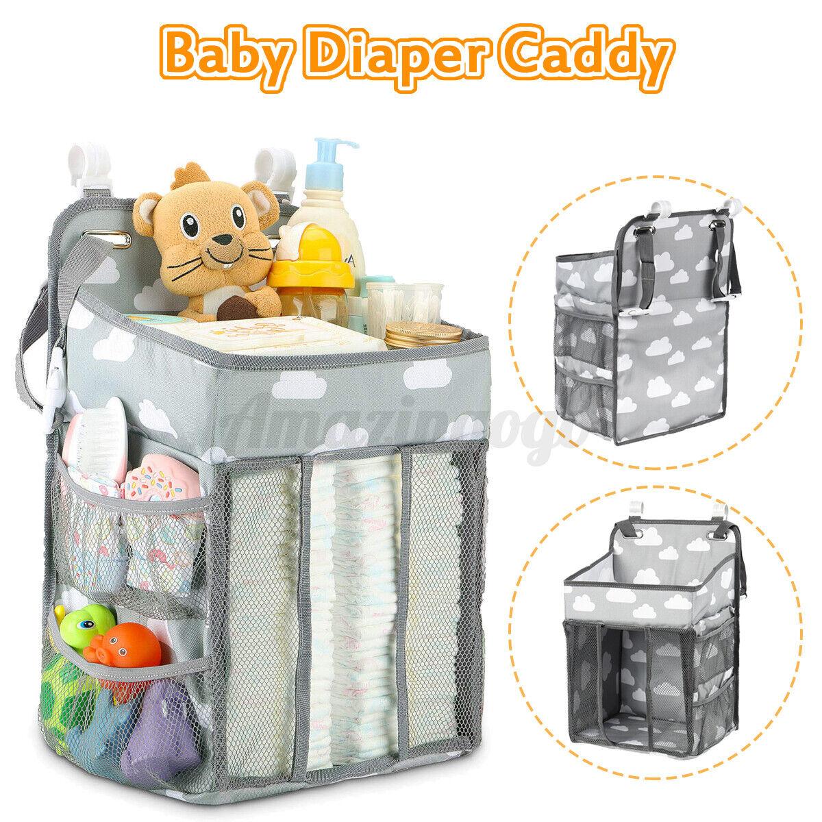 "19"" Large Capacity Baby Crib Diaper Bag Caddy Hanging Organizer Nursery Bag"