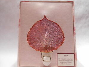 Real-Aspen-Leaf-Night-Light-Copper-Iridescent-Precious-Metals-Filigree-Gift-Box