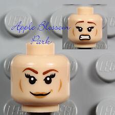 NEW Lego Light Flesh FEMALE MINIFIG HEAD - Lois Lane Girl Pink Lips Tamina Smile
