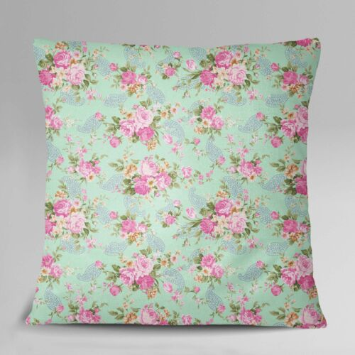 S4Sassy Decorative Square Floral /& Paisley Print Mint Green Cushion Cover 1 Pair