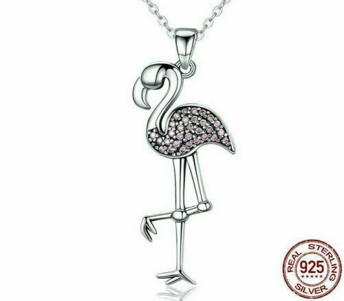 """Details about  /Gorgeous 925 Sterling Silver Pink Crystal Flamingo Necklace 18/"""" Chain"""