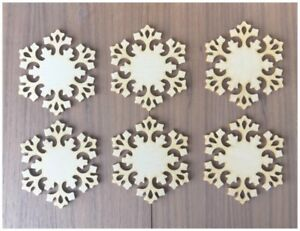 image is loading 6 pieces snowflakes unfinished wood laser cut christmas