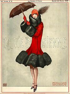 1926 La Vie Parisienne Ready for Rain French France Travel Advertisement Poster
