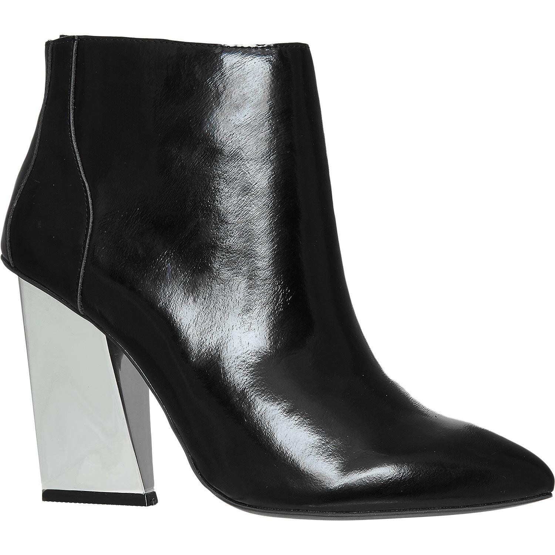 Jeffrey Campbell en punta de cuero negro negro negro botas al tobillo tacón metálico puntiagudo 6 39  ventas directas de fábrica