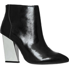 JEFFREY CAMPBELL black leather pointed toe ankle boots metallic heel pointy 6 39